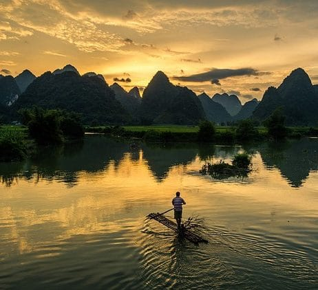 a man sailing in norther vietnam